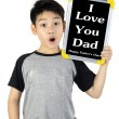 Asian boy is little smile with blank white board and looking cam — Stock Photo #78791934