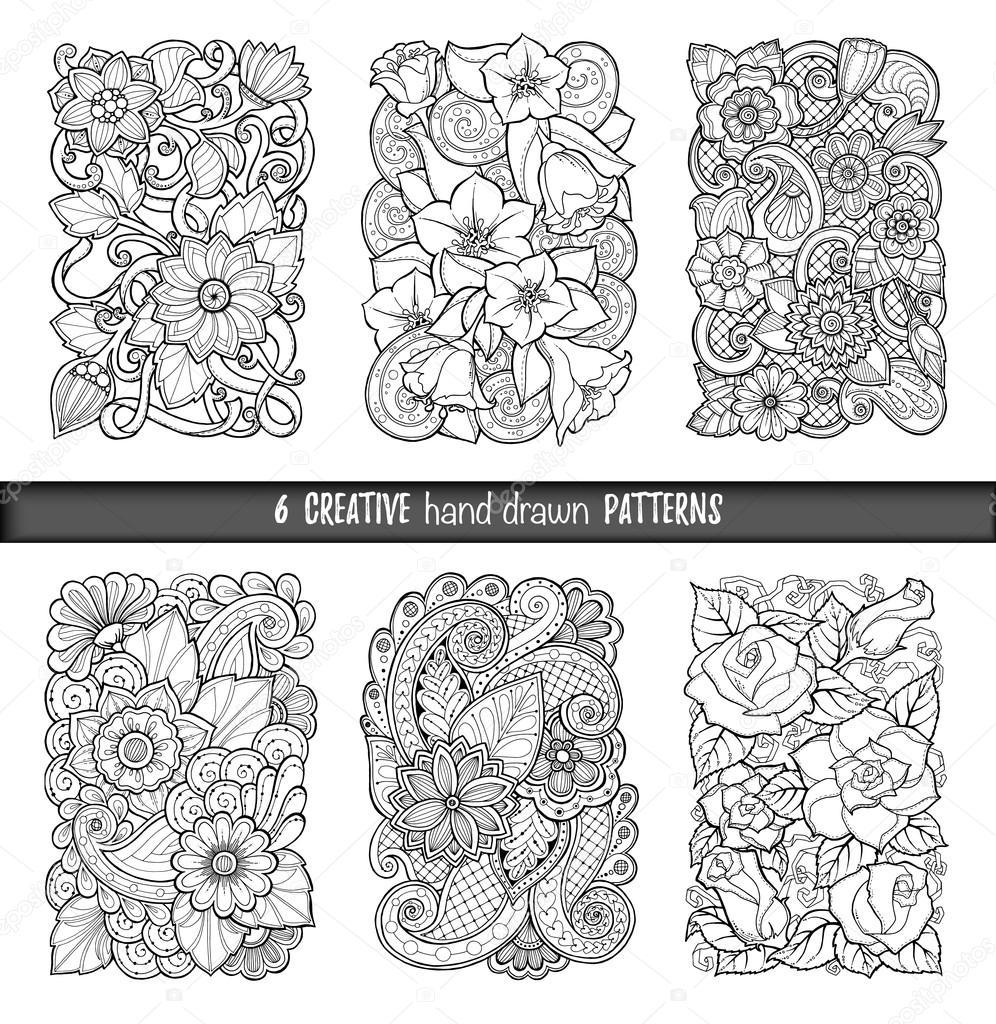 Conjunto de fondos en vectores con garabatos flores y for Papel para dibujar