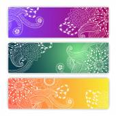 Unique pattern card set with art flowers. — Stockvector