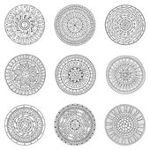 Set of hand drawn circles, vector logo design elements. Doodle style. Style Circle mandala vector black and white background. Ornamental Round Pattern. — Stok Vektör