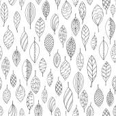 Autumn white and black seamless stylized leaf pattern in doodle style. Seamless decorative template texture with leaves. Used clipping mask for easy editing. — Stock Vector