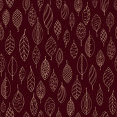Autumn dark red seamless stylized leaf pattern in doodle style. Seamless decorative template texture with leaves. Used clipping mask for easy editing. — Stock Vector