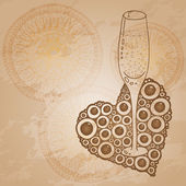 Wine Glass With The Doodle Circular Pattern — Foto Stock