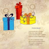 Holiday card with three gift boxes — Stock vektor