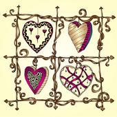Original drawing doodle hearts. — Stock Vector
