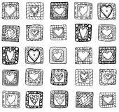 Collection of original drawing doodle hearts. — Stock Vector
