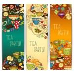 Banner templates vector collection. Tea party. — Stock Vector #57404873