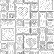 Seamless pattern of original drawing doodle hearts. — Stock Vector #57505621