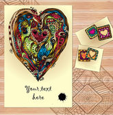 Set of doodle tribal vector love cards on wood. — Stock Vector