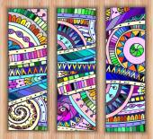 Set of abstract doodle tribal vector cards. — Stock Vector