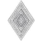 Original drawing ethnic tribal doddle rhombus 4. — Stock Vector