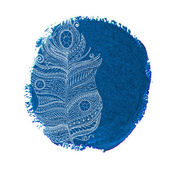 Ethnic doodle feather on a watercolor circle — Stock vektor