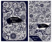 Paisley batik background. Ethnic doodle cards. — Stock Vector