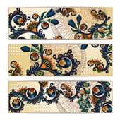 Paisley batik background. Ethnic tribal cards. — Stock Vector