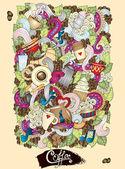 Coffee  Doodles Hand-Drawn Vector Illustration. — Stockvector