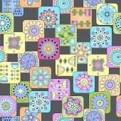 Sans soudure doodle fleurs, feuilles, motif coeurs. — Stockvektor