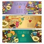 Banner templates vector collection. Tea party. — Stock Vector #59697919