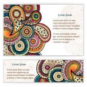 Set of  doodle paisley posters for your business — Stock Vector