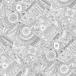 Seamless asian ethnic floral retro doodle black and white background pattern in vector. Henna paisley mehndi doodles design tribal black and white pattern. Used clipping mask for easy editing. — Stock Vector #63484495