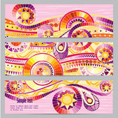 Set of abstract doodle tribal vector cards. — Vecteur