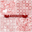 Set of  romantic patterns with doodle hearts. — Stock Vector #63935631