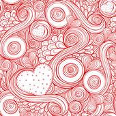 Romantische naadloze patroon met doodle en harten. — Stockvector