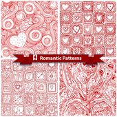 Set of  romantic patterns with doodle hearts. — Vector de stock