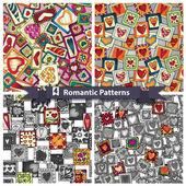 Σύνολο ρομαντικό μοτίβα με doodle καρδιές. — Διανυσματικό Αρχείο