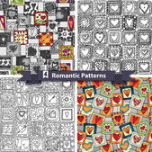 Set of  romantic patterns with doodle hearts. — Stock Vector