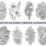 Set of Henna Paisley Mehndi Doodle Element. — Stock Vector #63959369