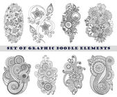 Set of Henna Paisley Mehndi Doodle Element. — Stock Vector