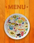 Coffee and Tea Sketch Doodles for Restaurant Menu. — Stock Vector
