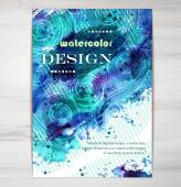 Poster Template with Watercolor Splash. — Stock Vector