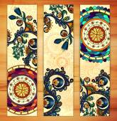 Paisley ethnic batik backgrounds. — Stock Vector
