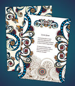 Set of  doodle paisley posters for your business — Stockvector