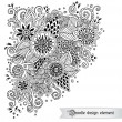 Floral retro doodle black and white pattern  in vector. — Stock Vector #70998977