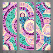 Set of three abstract ethnic doodle vector cards. — Stockvektor