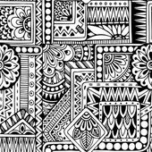 Seamless  floral doodle black and white background pattern in vector. — Stock Vector