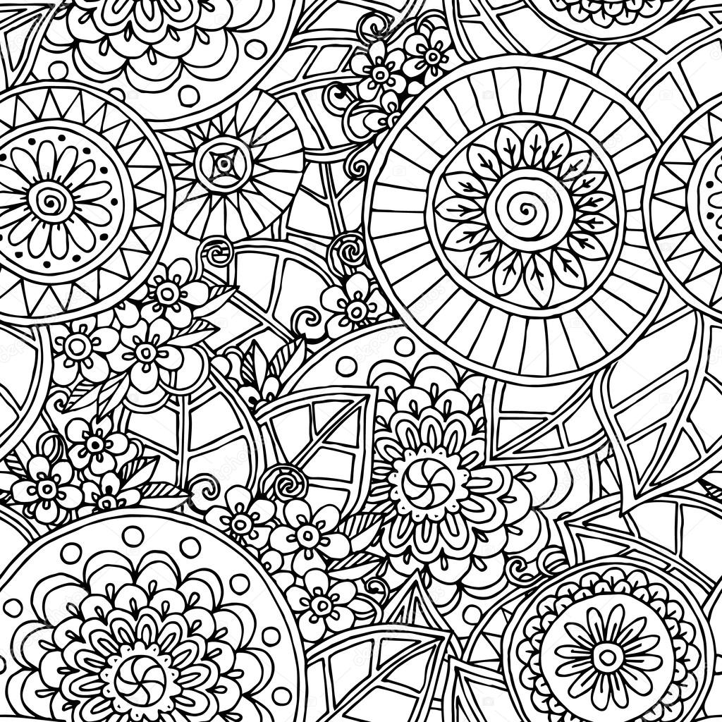 Seamless Floral Doodle Black And White Background Pattern In Vector
