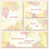 Invitation, save the date cards with autumn leaves — Vector de stock