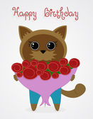Cat with a bouquet of roses — Stock Vector
