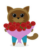 Kitten with a bouquet of roses — Stock Vector