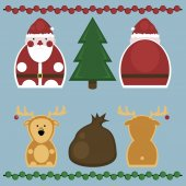Santa Claus and Deer. Set — Stock Vector