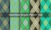 Seamless argyle pattern. Diamond shapes background. Vector set. — Stock Vector