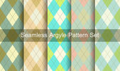 Seamless argyle pattern. Diamond shapes background. Vector set. — Stock Vector