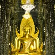 Golden Buddha statue at Cathedral glass, Temple in Uthai Thani , — Stock Photo #55499367