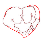 Happy couple kissing inside a red heart — Stock Vector
