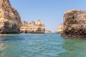 Rock formations near Lagos seen from the water — Stock Photo