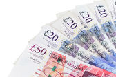 Closeup of english pounds banknotes — Stock Photo