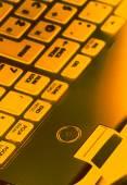 Power button on laptop — Stock Photo